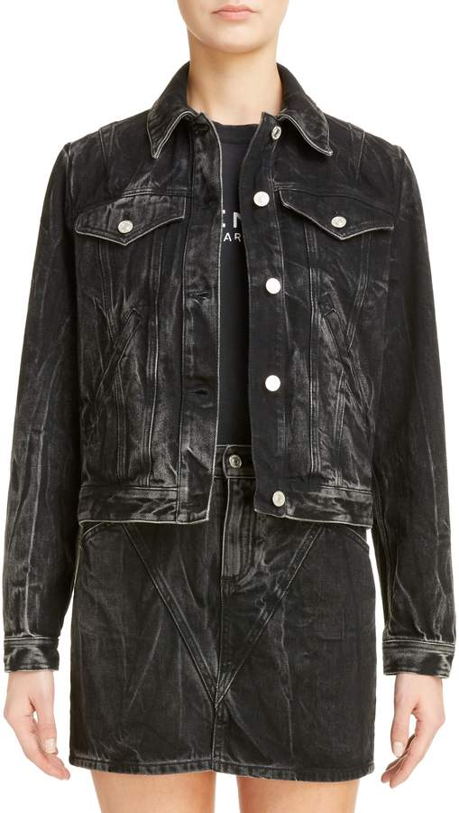 Givenchy Grommet Logo Marble Wash Denim Jacket