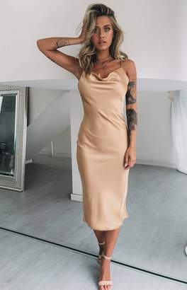 Beginning Boutique Schiffer Slip Midi Dress Champagne