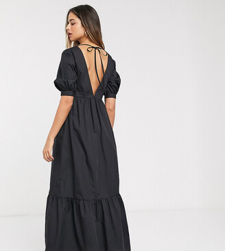 Asos DESIGN Tall cotton poplin v front v back tiered maxi dress in black