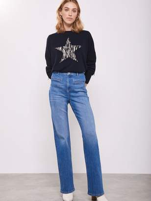Mint Velvet Sara Print Star Front Knit Jumper - Navy
