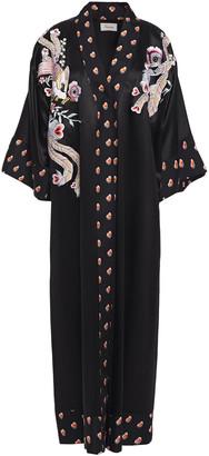Temperley London Firebird Embroidered Printed Satin Kimono