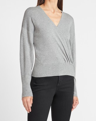Express Wrap Front V-Neck Sweater