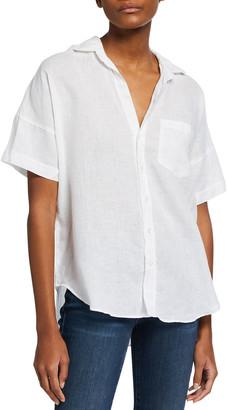 Frank And Eileen Short-Sleeve Button-Down Linen Shirt