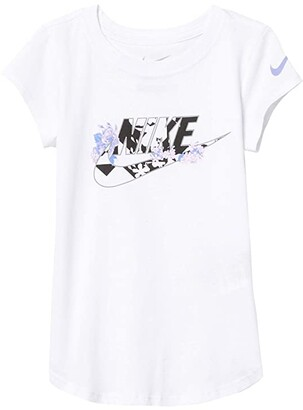 Nike Kids Short Sleeve Floral Swoosh Graphic T-Shirt (Toddler/Little Kids) (White) Girl's Clothing