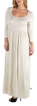 24Seven Comfort Apparel Long Sleeve Pleated Maxi Plus Size Dress