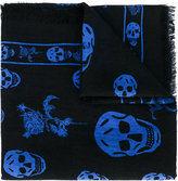 Alexander McQueen skull and badge scarf - men - Silk/Wool - One Size
