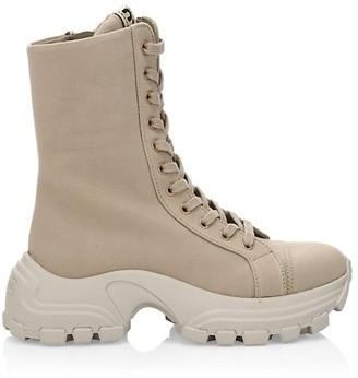 Miu Miu Denim-Washed Combat Sneakers
