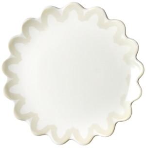 Coton Colors by Laura Johnson Ecru Arabesque Trim Scallop Edge Salad Plate