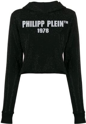 Philipp Plein logo printed cropped hoodie