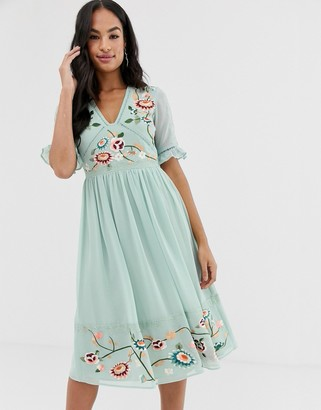 ASOS DESIGN embroidered midi dress with lace trims in sage green