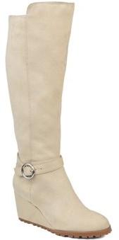 Brinley Co. Womens Comfort Wide Calf Microsuede Wedge Boot