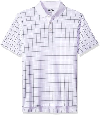 Izod Men's Winward Short Sleeve Windowpane Interlock Polo