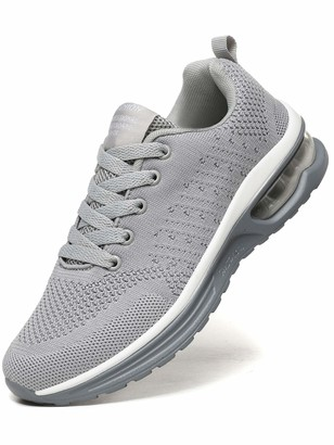 JIANKE Womens Running Trainers Lightweight Air Cushion Sneakers Breathable Mesh Walking Gym Shoes Grey 9.5 UK
