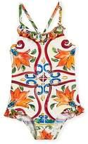 Dolce & Gabbana Maiolica-Print Ruffle One-Piece Swimsuit, Size 2-6