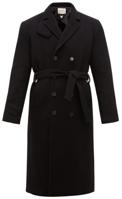 Rochas Double-breasted Belted Wool Coat - Mens - Black