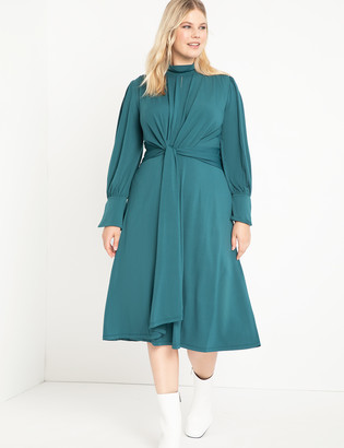 ELOQUII Mock Neck Keyhole Dress