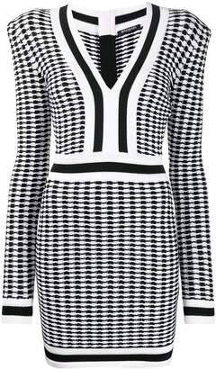 Balmain check knitted mini dress