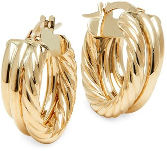Saks Fifth Avenue Made In Italy 14K Yellow Gold Three-Row Hoop Earrings