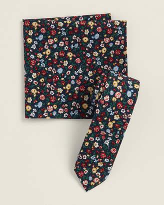 Original Penguin Two-Piece Eula Floral Navy Pattern Tie & Pocket Square Set