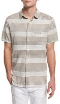 7 For All Mankind Horizontal-Stripe Short-Sleeve Shirt, Natural