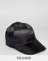 Reclaimed Vintage Inspired Satin Baseball Cap Black