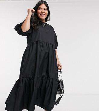 Asos DESIGN Curve tiered cotton poplin smock midi dress in black