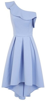 Dorothy Perkins Womens Chi Chi London Blue Asymmetric Dip Hem Midi Skater Dress, Blue