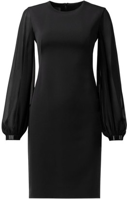 Akris Beaded-Trim Long Puff-Sleeve Georgette Dress