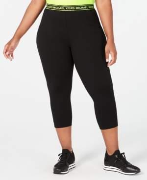 Michael Kors Michael Plus Size Logo-Waist Cropped Leggings