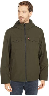 Levi's Arctic Cloth Hooded Rain Jacket w/ Quilted Lining (Olive) Men's Clothing