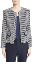 Helene Berman Women's Stripe Collarless Zip Front Jacket