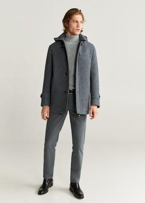 MANGO MAN - Detachable hood wool coat medium heather grey - XL - Men