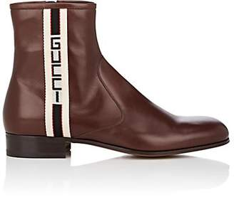 Gucci Men's Logo-Striped Leather Boots - Brown