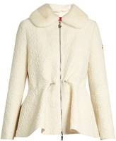 Moncler Gamme Rouge Detachable fur-collar wool-blend cloqué jacket