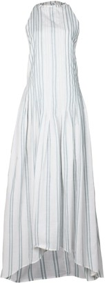 Maraina London Rain White & Light Green Pleated Dip-Hem Maxi Cocktail Dress