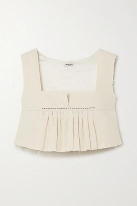 Miu Miu Cropped Frayed Cotton-canvas Peplum Top - Ivory