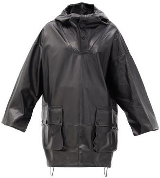 Petar Petrov Marjan Oversized Leather Hooded Jacket - Black
