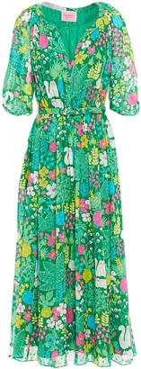 Kate Spade Belted Gathered Floral-print Silk-plumetis Midi Dress