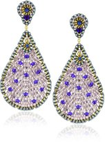 Miguel Ases Quartz and Swarovski Tear Drop Earrings