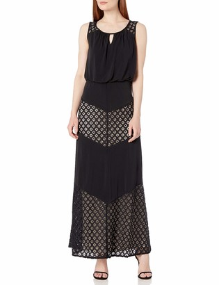 London Times Women's Sleeveless Scoop Neck Jersey Maxi Dress