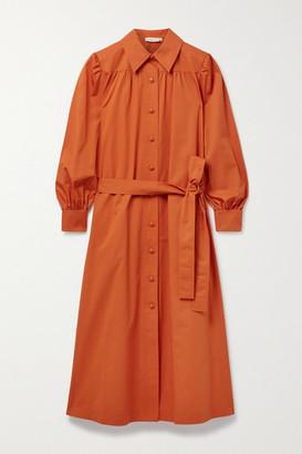 Tory Burch - Artist Belted Cotton Shirt Dress - Orange