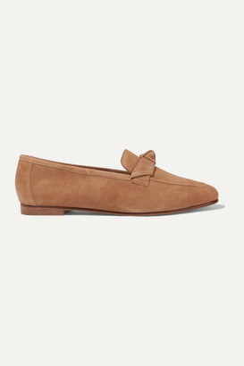 Alexandre Birman Becky Bow-embellished Suede Loafers - Tan