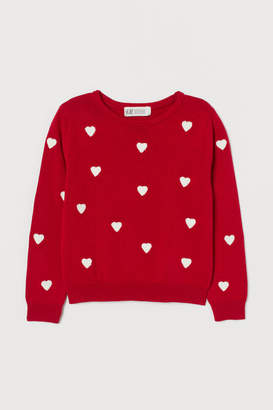 H&M Fine-knit Cotton Sweater - Red
