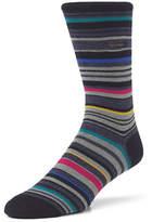 Calvin Klein Mens Barcode Multi Stripe Crew Socks