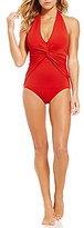 MICHAEL Michael Kors Villa Del Mar Deep V-Twist Halter One-Piece