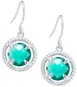 Giani Bernini Round Crystal Wire Drop Earrings in Sterling Silver. Available in Clear, Blue, Green or Purple