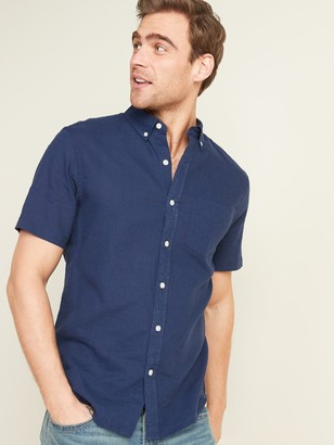 Old Navy Relaxed-Fit Linen-Blend Short-Sleeve Shirt for Men