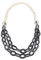 Nest Horn & Bone Beaded Double-Strand Link Necklace