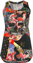 Alexander McQueen floral skull tablecloth tank top - women - Cotton - 38