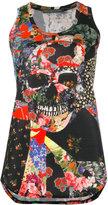 Alexander McQueen floral skull tablecloth tank top